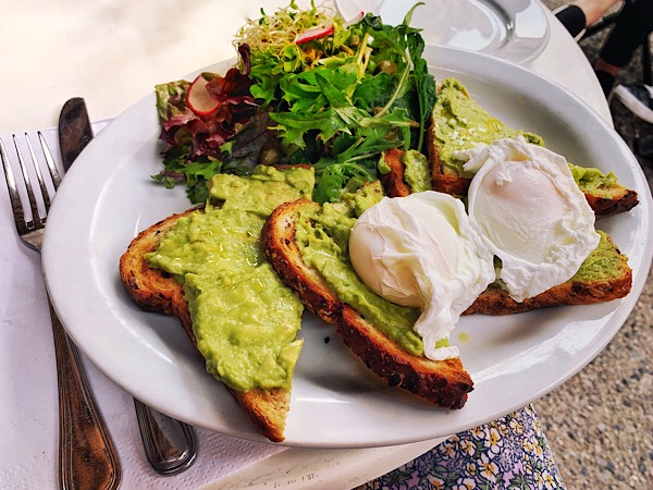 Avocado toast from the Heights Cafe