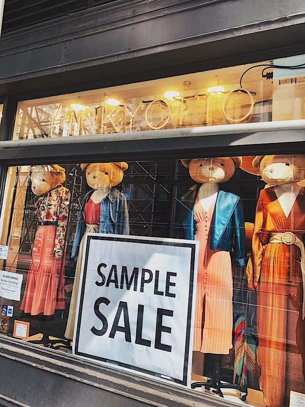 Sample sale in Soho, mannequins with Teddy Bear heads