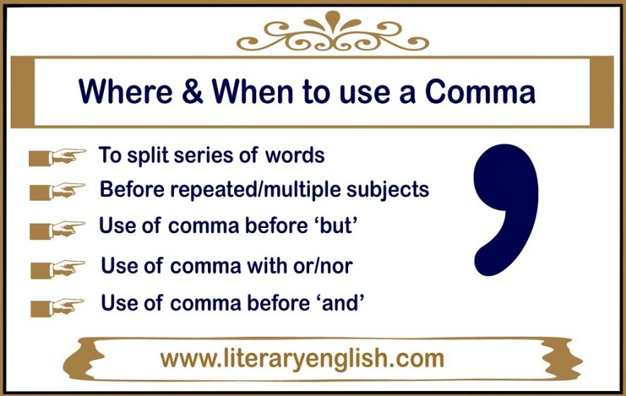 Where and when to use a comma