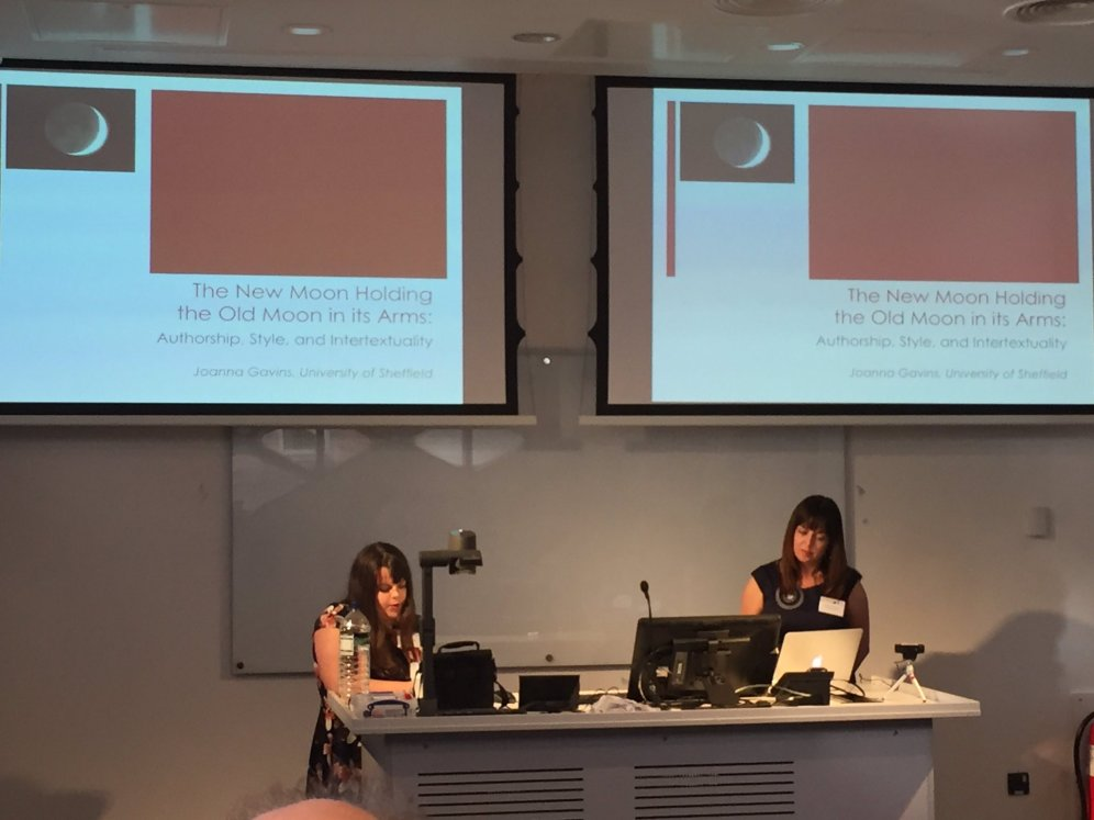 Joanna Gavins opening the symposium with her talk on intertextuality in poetry