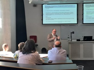 Paul Simpson delivering his plenary lecture on parody and authorship