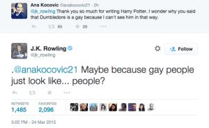 J. K. Rowling responde fã que alega não conseguir enxergar Dumbledore como uma pessoa gay.