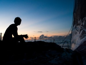 October 21, 2014. Leg 1 onboard Team SCA. Sillhouette at sunset.