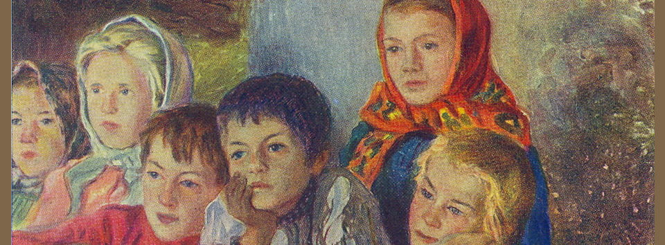Children learning - painting by Nikolay Bogdanov-Belsky