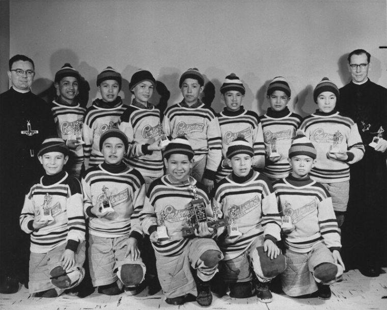The Indian Residential School hockey team of Maliotenam, Quebec