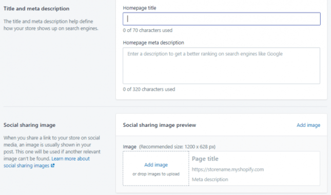 Shopify's built-in SEO & Marketing options