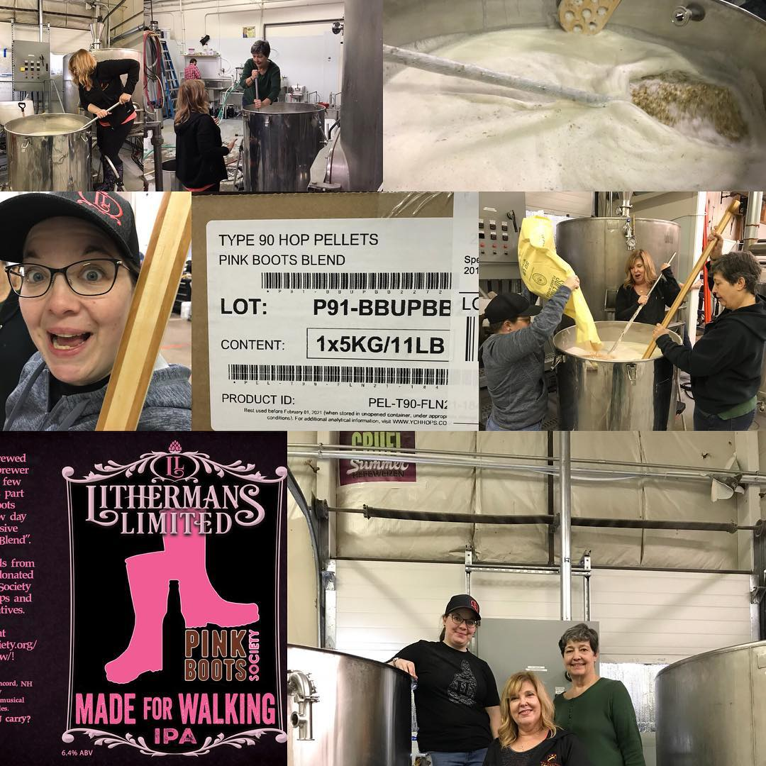 """Our Assistant Brewer Sharon """"Dropkick"""" Curley, Janet Lee Sisson and Julie Curley are Brewing the Pink Boot Society collaboration beer today! Look for it on draft and in cans in our tasting room in a few weeks. #pbb2018 #pinkbootsbrew2018 #lithermanslimited"""