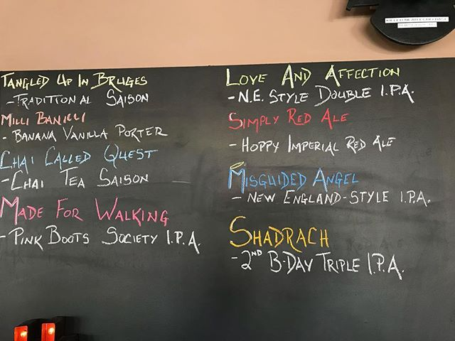 Today's draft line up! Open until 7pm. We also have cans of Misguided Angel, Shadrach Tripple IPA and Milli Banilli.