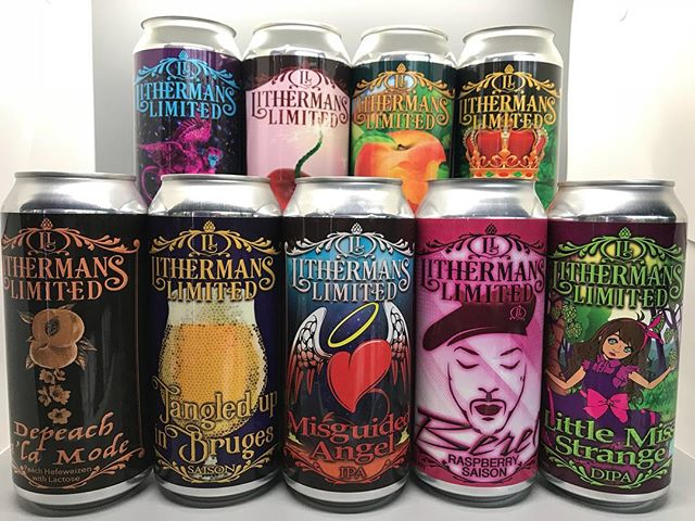 Here's a look at what cans are available at the brewery.  For a complete list of what's on tap check out Lithermans.beer