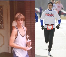 Picture of young man on left with trophy; picture of same person running in a race 40 years later.