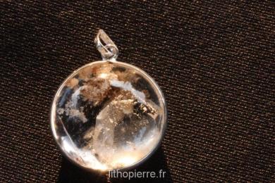 Pendentif argent quartz dans quartz