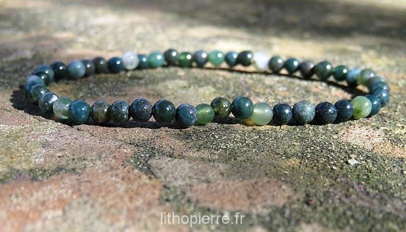 Bracelet en agate mousse