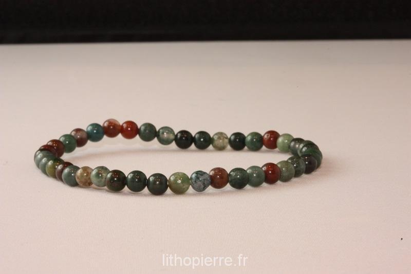 bracelet 4mm en jaspe sanguin