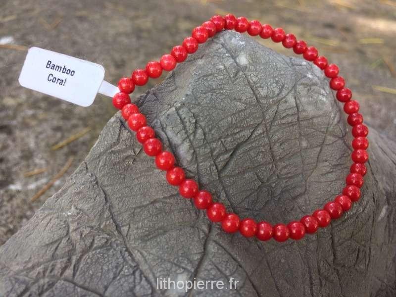 Bracelet 4 mm en Gorgone corail
