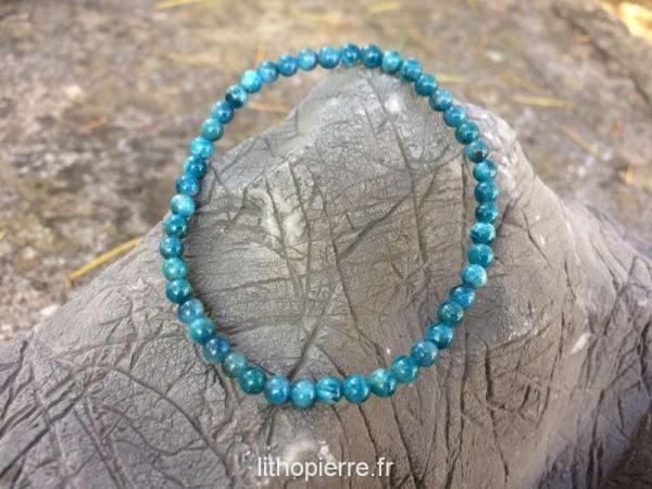 Bracelet en 4 mm en apatite bleu