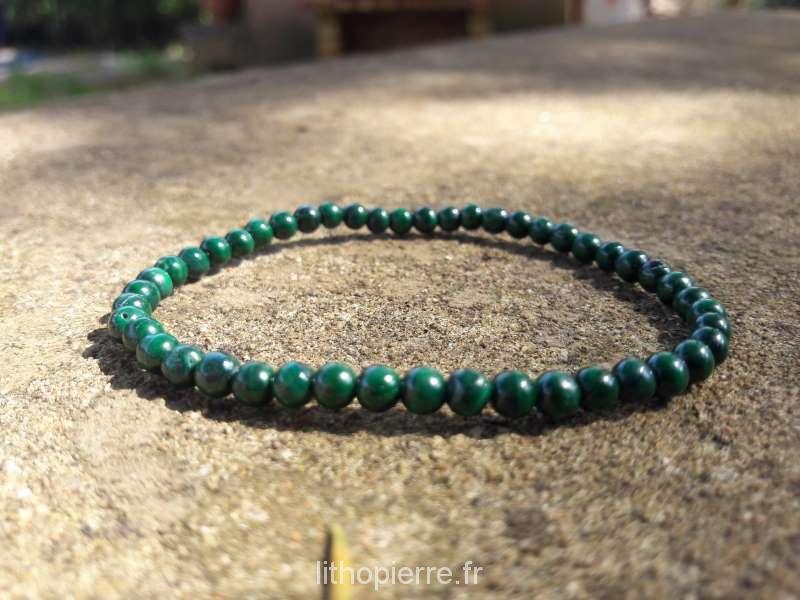 bracelet en pierre rare en 4 mm en malachite