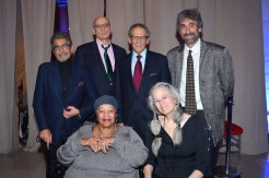 The evening's speakers: Sonny Mehta, Toni Morrison, James Ellroy, Robert Caro, Sharon Olds, and Mitchell Kaplan.