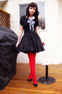 Red Tights Black Modcloth Skirt