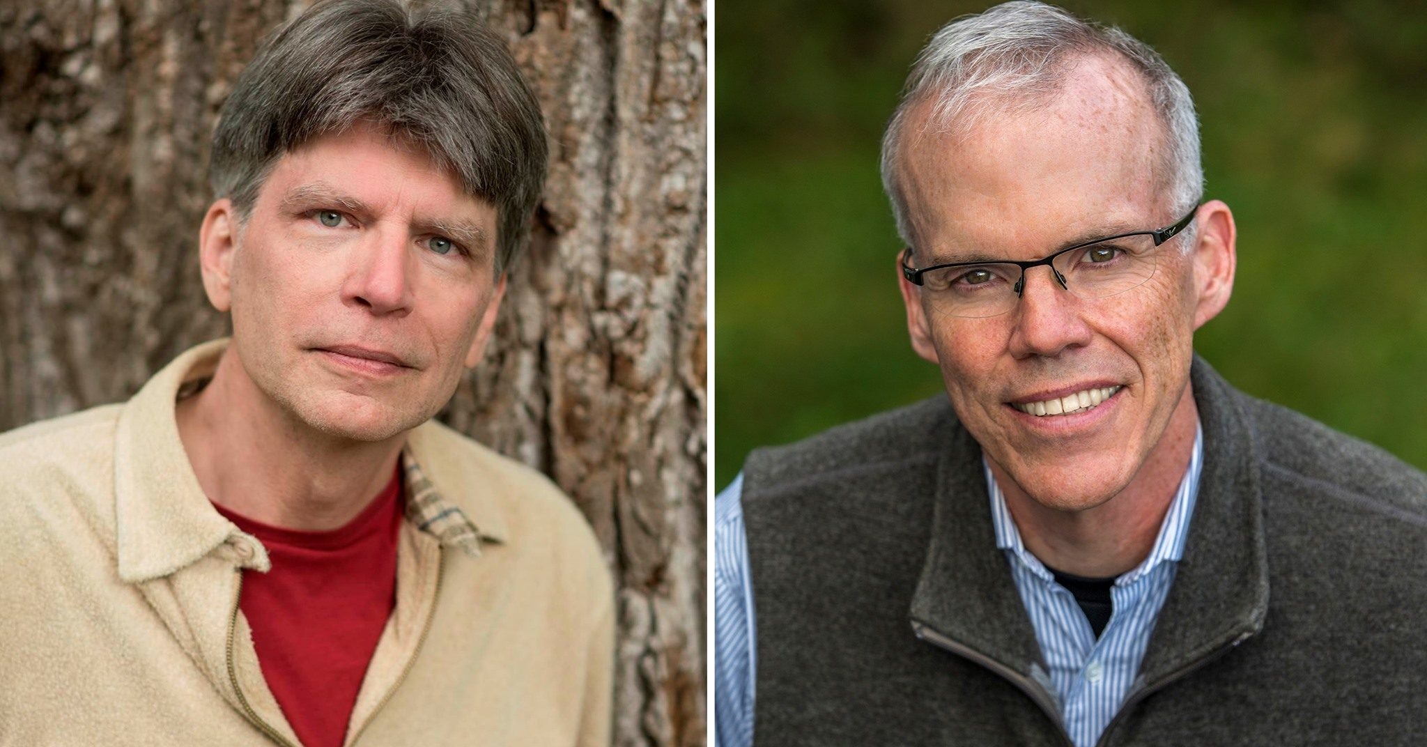 author photos of Richard Powers and Bill McKibben