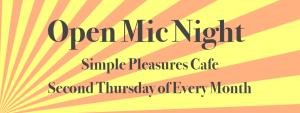 flier for Simple Pleasures open mic night