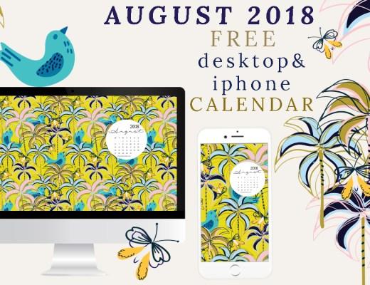 AUGUST 2018 Free desktop calendar download