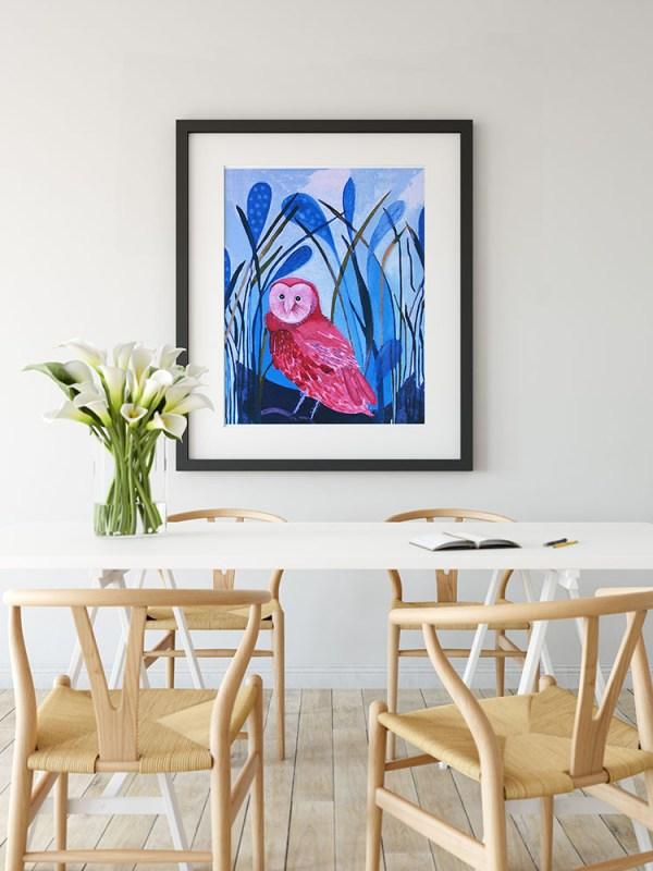 Framed Grass Owl Image