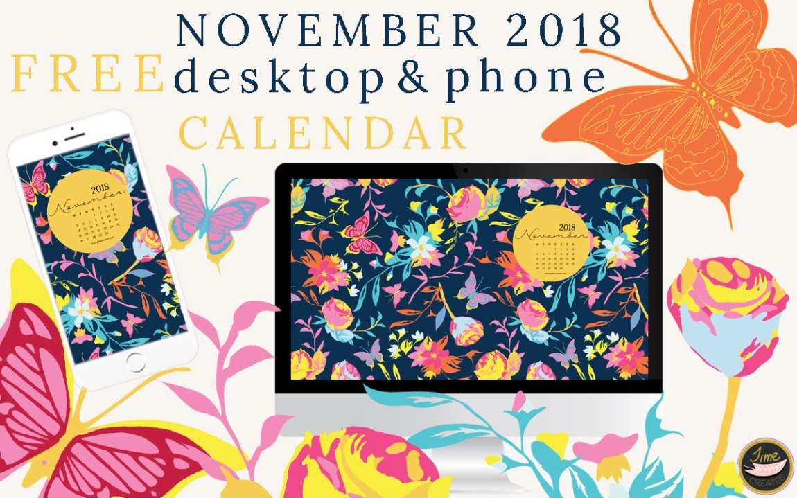 November 2018 desktop and phone calendar