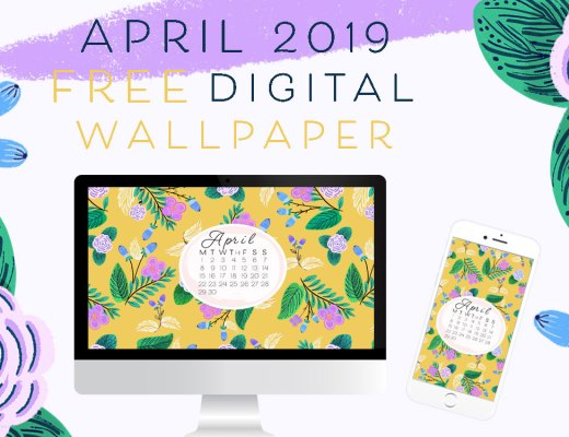April 2019 free digital pattern floral wallpaper