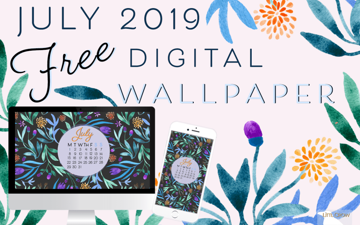 Watercolor Floral July Calendar To Download For Your Desktop