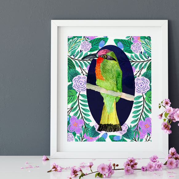 Jungle Escape Bird illustration 2 print by Jimena Garcia (LittlCrow)