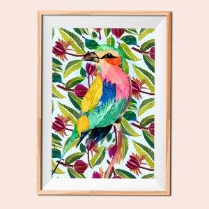 Color Me Happy Bird illustration 5 print by Jimena Garcia (LittlCrow)