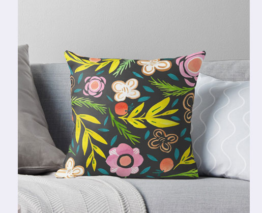 Throw pillow with whimsical gouache floral pattern designed by Jimena Garcia (LittlCrow)