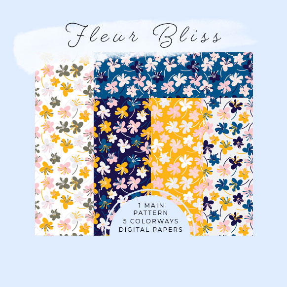Fleur Bliss Digital paper set by Jimena Garcia (Littlcrow)