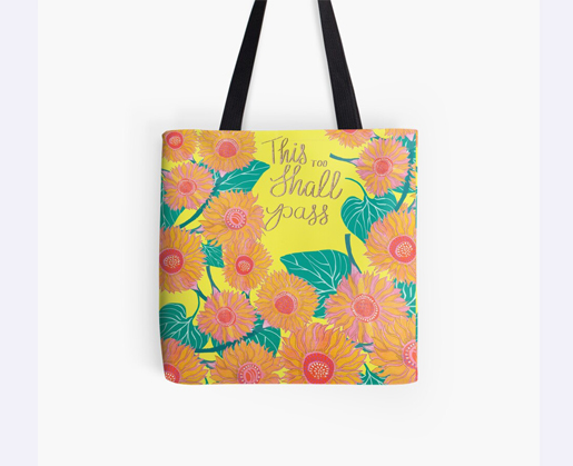 Tote bag with painted sunflowers designed by Jimena Garcia (LittlCrow)