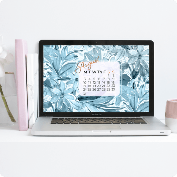 Desktop wallpaper with painted blue flowers calendar by Jimena Garcia (LittlCrow)
