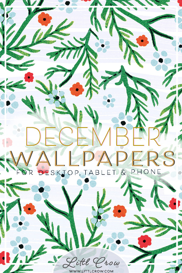 December wallpaper Christmas watercolour calendar by Jimena Garcia (LittlCrow)