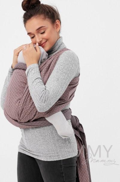 Слинг-шарф из шарфовой ткани бежевый/темно-серый)
