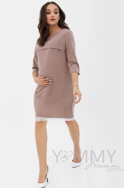 Платье капучино с кружевом