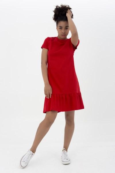 Платье с воланом красное