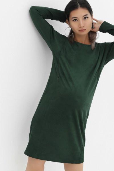 Платье замшевое изумруд