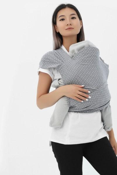 Май-слинг из шарфовой ткани светло-серый/темно-серый