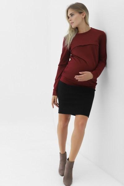 Юбка черная до колена для беременных