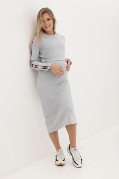 Платье серый меланж с длинным рукавом лампасами, с разрезом