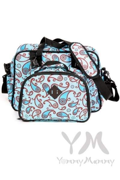 Сумка Double Bag (2 в 1) голубая с принтом