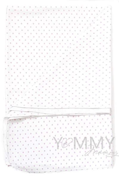 Трикотажная пеленка белая в розовый горошек 75х100