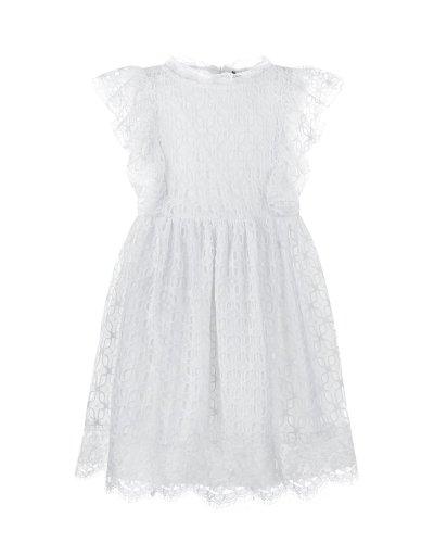Белое платье с кружевной отделкой Ermanno Scervino