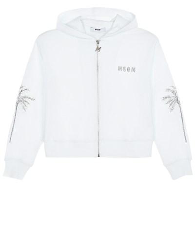 "Белая спортивная куртка с вышивкой ""пальмы"" MSGM"
