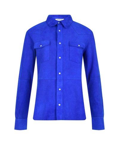Синяя рубашка из замши Parosh