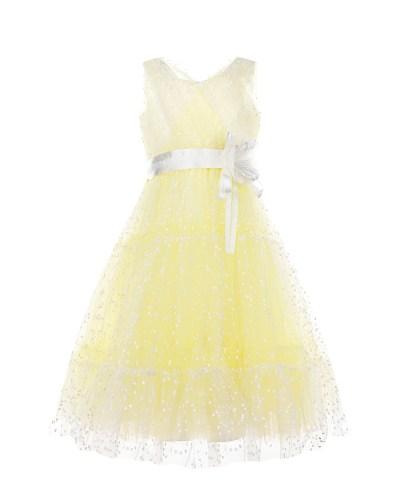 Лимонное платье с белым поясом Aletta