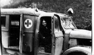 Адина Лоренцовна в санитарной машине. Горный Алтай, 1950-е